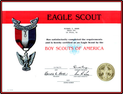 Click on Eagle Scout Award Certificate to the Education / Achievements web page